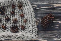 Conos del anís y del pino de la Navidad en el sombrero de lana caliente en el CCB rústico Fotografía de archivo