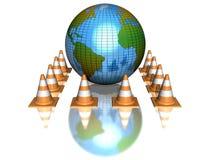 Conos del globo y de la construcción Imágenes de archivo libres de regalías