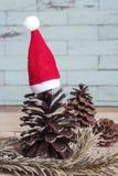 Conos del pino con los sombreros de la Navidad Foto de archivo