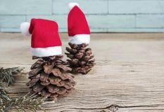 Conos del pino con los sombreros de la Navidad Fotos de archivo libres de regalías