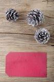 Conos del pino de plata y etiqueta roja del regalo Fotografía de archivo