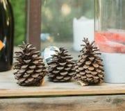 Conos del pino en la tabla de madera Foto de archivo