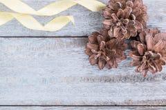 Conos del pino y cinta de oro Fotografía de archivo libre de regalías