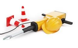 Conos del tráfico del casco de la construcción del martillo perforador Imagenes de archivo