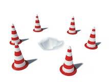 Conos del tráfico con el agujero Imagen de archivo libre de regalías