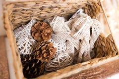 Conos hermosos para el interior decoraciones en una cesta Fotos de archivo libres de regalías