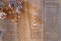 Conos y bayas del pino del día de fiesta en una ramita en la esquina izquierda superior de r Imagenes de archivo