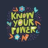 Conosca la vostra iscrizione pianamente disegnata a mano di potere illustrazione vettoriale