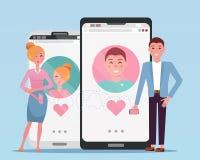 Conoscenza di donna e dell'uomo nella rete sociale Usato per i profili di web sugli smartphones Utenti di datazione online del ap illustrazione di stock
