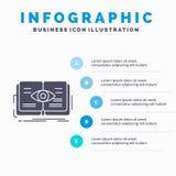 conoscenza, libro, occhio, vista, modello di Infographics di crescita per il sito Web e presentazione Icona grigia di glifo con s royalty illustrazione gratis