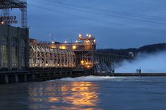 Conowingo dam at night Royalty Free Stock Photography
