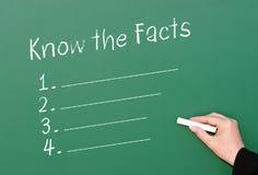Conozca la lista de verificación de los hechos Fotografía de archivo libre de regalías