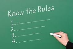 Conozca la pizarra de la conformidad de las reglas Foto de archivo