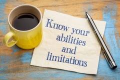 Conozca sus capacidades y limitaciones Imagen de archivo libre de regalías