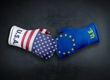 Conpet del conflicto de los E.E.U.U. América de la unión europea imagenes de archivo