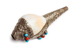 Conque bouddhiste tibétaine Shell Horn Dung-Dkar photos stock