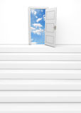 Conquer adversity. Stairway and open door leading to sky, white background Stock Photos