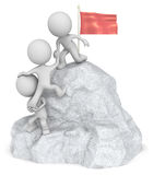 Conquer. The dude 3D character x3 climbing a Mountain with top Flag Royalty Free Stock Photos