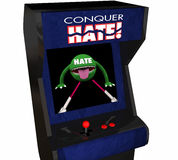Conquer Hate Beat Defeat Hatred Love Peace Video Game Stock Images