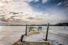 Conquered by frozen nature. Frozen path on the ice Royalty Free Stock Photo