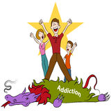 Conquering Addiction. An image of a family conquering addiction stock illustration