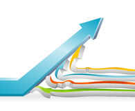 Conquering Adversity. Conceptual illustration of strong growth arrow moving upward vector illustration