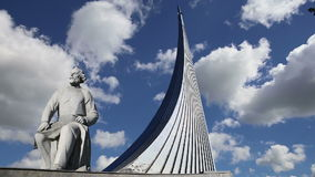 Conquerors of Space Monument in the park outdoors of Cosmonautics museum, near VDNK exhibition center, Moscow, Russia stock video