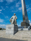 Conquerors of Space and statue of Konstantin Tsiolkovsky. Royalty Free Stock Photo
