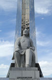 Conquerors of Space and statue of Konstantin Tsiolkovsky Stock Photography