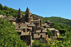 Conques. In the Aveyron department in South France Royalty Free Stock Images