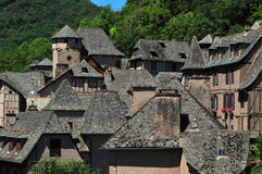 Conques. Rooftops in Conques in the Aveyron department of South France Royalty Free Stock Photo