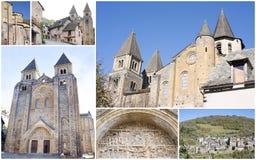 Conques y Abbey Church del santo Foy Foto de archivo libre de regalías