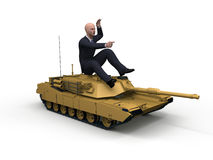 Conquest of markets. Businessman mounted in a tank military Royalty Free Stock Images
