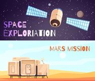 Conquest Of Space Banners Set. Space technology banners set of two horizontal cosmic exploration compositions with images of satellite and accommodation module Royalty Free Stock Photo