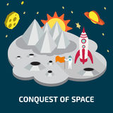 Conquest of space of the Moon.  Space isometric elements. Stock Image