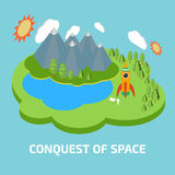 Conquest of space. Space isometric elements. Stock Photos