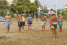 The conquest of unrated games bocce among families Alcossebre Royalty Free Stock Image