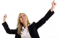 Conquista attraente della donna di affari Fotografia Stock