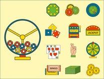 Conquista del black jack di simboli del giocatore del poker delle icone del gioco del casinò Fotografie Stock