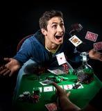 Conquista del giocatore di poker Fotografia Stock Libera da Diritti