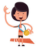 Conquista del personaggio dei cartoni animati olimpic dell'illustrazione dell'oro Fotografie Stock