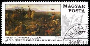 Conquista dell'Ungheria, pittura dal ³ r di MÃ che, serie delle pitture, circa 1989 immagine stock