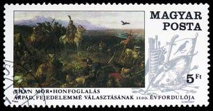 Conquista dell'Ungheria, pittura dal ³ r di MÃ che, serie delle pitture, circa 1989 fotografia stock libera da diritti