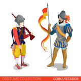 Conquistador medieval conqueror warrior fighter couple. Flat 3d isometric web site vector illustration. People in traditional costume collection Stock Photography