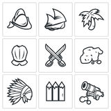 Conquistadors, Indians and gold icons set. Vector Illustration. Royalty Free Stock Image