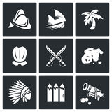Conquistadors, Indians and gold icons set. Vector Illustration. Stock Photos