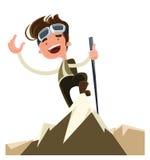 Conquisti il personaggio dei cartoni animati dell'illustrazione della cima del picco di montagna Immagine Stock