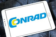 Conrad electronics retailer logo. Logo of Conrad electronics retailer on samsung tablet. Conrad is one of Europe`s leading electronics mail order retailers Royalty Free Stock Photography