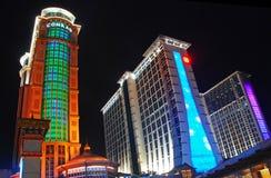 Conrad and Sheraton Hotels in Macao. Conrad and Sheraton Resort Hotels with Lights in Macao Stock Photos
