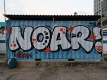 Conrainer avec le graffiti chez Hong Kong occidental Photos libres de droits